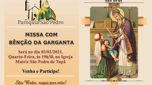 Paroquia São Pedro de Tupã celebrará Missa em honra a São Brás com bênção da garganta