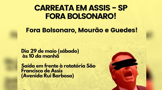 Associação FDSN promove carreata contra Bolsonaro em Assis